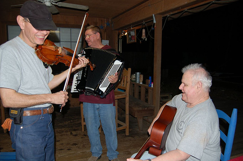 Great fun and great music! Robert Herridge on fiddle, Don Patterson on accordion, and Phil Parr on guitar. Photo by Lu Tatum. Thanks!