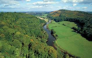 The Wye River and the valley near Tintern Abbey.