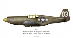 The North American A-36 Apache, flown by Bill Creech.
